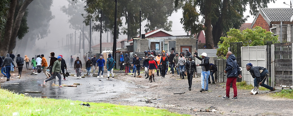 SOUTH AFRICA - Cape Town - 9 July  2020  - Police clashed with  protesting Mfuleni residents and backyarders who were the Hindle Road.They burnt tyres and rubble and blocked the road with bricks and rocks. Picture: Phando Jikelo/African News Agency(ANA)
