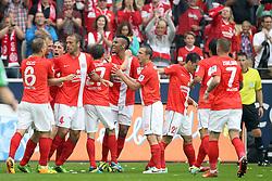24.08.2013, Coface Arena, Mainz, GER, 1. FBL, 1. FSV Mainz 05 vs VfL Wolfsburg, 3. Runde, im Bild Torjubel Mainz 1:0, links: Geis Johannes (6), FSV Mainz 05, Noveski, Nikolce (4), FSV Mainz 05, Mueller, Nicolai (27), FSV Mainz 05, mitte: Choupo-Moting, Eric Maxim (10), FSV Mainz 05, Torschuetze // during the German Bundesliga 3rd round match between 1. FSV Mainz 05 and VfL Wolfsburg at the Coface Arena, Mainz, Germany on 2013/08/24. EXPA Pictures © 2013, PhotoCredit: EXPA/ Eibner/ Kellner<br /> <br /> ***** ATTENTION - OUT OF GER *****