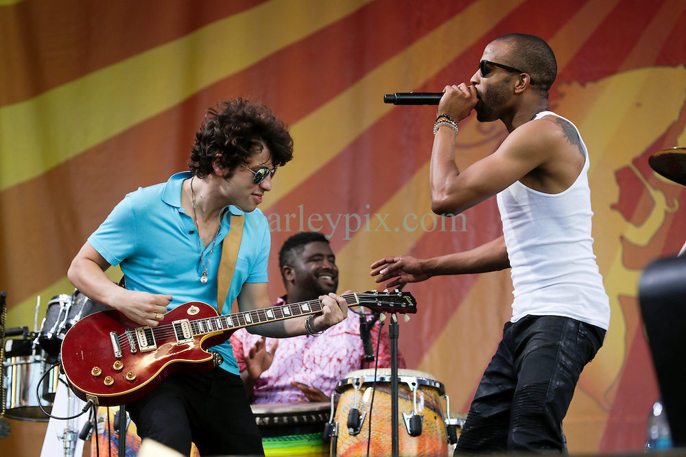 03 May 2015. New Orleans, Louisiana.<br /> The New Orleans Jazz and Heritage Festival. <br /> L/R; Pete Murano and Troy 'Trombone' Shorty closes the festival on the Acura stage.<br /> Photo; Charlie Varley/varleypix.com