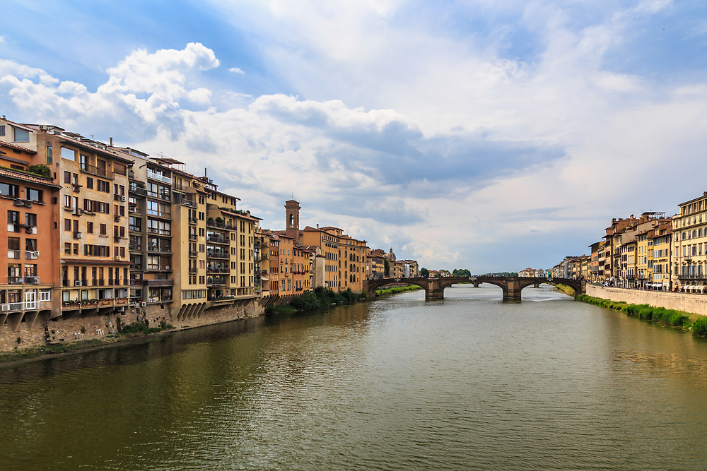 Arno river in Florence, Italy. The Arno is tied to the city's history: it has been the source of employment and an entertainment venue during festivals and sporting events. In addition, it has been a significant transit route between the sea and the Apennines for the wood needed for architectural works.