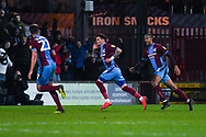 Adam Hammill of Scunthorpe United (47) scores a goal and celebrates to make the score 1-1 during the EFL Sky Bet League 1 match between Scunthorpe United and Sunderland at Glanford Park, Scunthorpe, England on 19 January 2019.