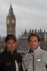 © Licensed to London News Pictures. 10/01/2012. London, UK. Four time Olympic medalist Ben Ainslee announcing that he will join team Oracle for the 34th Americas Cup which will take place in 2013 with Russell Coutts (left) and then set up an Americas Cup team to challenge for the 35th World Series under the name 'Ben Ainslee Racing'. Photo credit : James Gourley/LNP