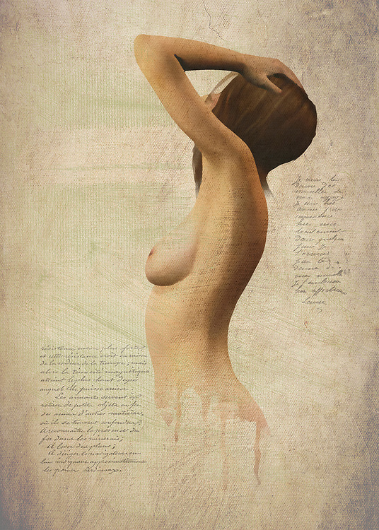 Surrounded by text and large bodies of empty space, this fine art piece depicts a woman we assume to be named Susan. She is nude, and her body is facing away from us. We can see her hands up at her hair, and we can assume she is looking intently at something that is just beyond what we ourselves can see. There is an element of compelling mystery to a piece such as this. You will be able to experience this sense of mystery for yourself, as you stare deeper and deeper into this simple-yet-profound visual. You will no doubt begin to wonder just where Susan came from, and where she's going. .<br /> <br /> BUY THIS PRINT AT<br /> <br /> FINE ART AMERICA<br /> ENGLISH<br /> https://janke.pixels.com/featured/nude-silhouette-jan-keteleer.html<br /> <br /> WADM / OH MY PRINTS<br /> DUTCH / FRENCH / GERMAN<br /> https://www.werkaandemuur.nl/nl/shopwerk/Erotisch-naakt---naakt-met-een-gevoel-van-mysterie/446428/134<br /> <br /> FOR DOWNLOAD PRESS ADD TO CART