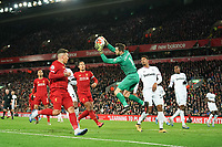 Football - 2019 / 2020 Premier League - Liverpool vs. West Ham United<br /> <br /> West Ham United's Lukasz Fabianski collects the ball , at Anfield.<br /> <br /> COLORSPORT/TERRY DONNELLY