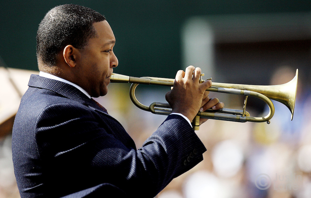 Musician Wynton Marsalis performs 'Over in the Glory Land' during the readings of the names of those killed in the September 11th terrorist attacks on the World Trade Center during the September 11th commemoration ceremony in New York on Monday 11 September 2006. This year marks the five year anniversary of the attacks. ..