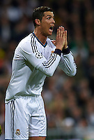 MADRID, SPAIN - APRIL 30:  Cristiano Ronaldo of Real Madrid reacts during the UEFA Champions League semi-final second leg match between Real Madrid and Borussia Dortmund at Estadio Santiago Bernabeu on April 30, 2013 in Madrid, Spain. (Photo by Manuel Queimadelos)