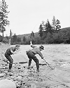 "9005-06. ""fishing trip up river. A big one"". Mt. Rainier, Spring 1915."