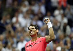 NEW YORK, Sept. 7, 2017  Rafael Nadal of Spain celebrates after defeating Andrey Rublev of Russia during the men's singles quarterfinal match at the 2017 U.S. Open in New York, the United States, Sept. 6, 2017. Rafael Nadal won 3-0 to enter semifinal. (Credit Image: © Qin Lang/Xinhua via ZUMA Wire)