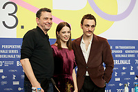 Director and Screenwriter Christian Petzold, Paula Beer and Franz Rogowski at the press conference for the film Undine at the 70th Berlinale International Film Festival, on Sunday 23rd February 2020, Hotel Grand Hyatt, Berlin, Germany. Photo credit: Doreen Kennedy