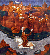Plaque: Turnus, overwhelmed by the Trojans, Crosses the river to return to his companions. Aeneid, Book IX, Limoges, about 1533-35.