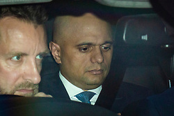 © Licensed to London News Pictures. 19/06/2019. London, UK. Home Secretary Sajid Javid, who is running to become Leader of the Conservative Party and the next Prime Minister, is seen leaving Parliament after the results of the third round of the leadership contest. Rory Stewart MP has been voted out of the race. Photo credit: Rob Pinney/LNP
