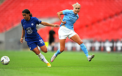 Sam Kerr of Chelsea Women holds off Steph Houghton of Manchester City Women- Mandatory by-line: Nizaam Jones/JMP - 29/08/2020 - FOOTBALL - Wembley Stadium - London, England - Chelsea v Manchester City - FA Women's Community Shield
