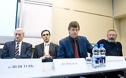 Dr. Rudi Turk, Damir Ban, Danilo Kacijan and Ciril Kolesnik when supporting T. Frajman, candidate for the president of Slovenian football federation at press conference,  on January 23, 2009, in Ljubljana, Slovenia.  (Photo by Vid Ponikvar / Sportida)