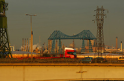 A19 Teesside flyover with Middlesborough transporter bridge in background UK