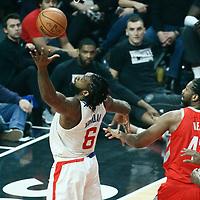 28 February 2018: LA Clippers center DeAndre Jordan (6) goes for the rebound past Houston Rockets center Nene Hilario (42) during the Houston Rockets 105-92 victory over the LA Clippers, at the Staples Center, Los Angeles, California, USA.