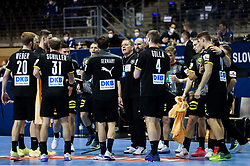 Alfred Gislason, head coach of Germany with his players during handball match between National Teams of Germany and Slovenia at Day 2 of IHF Men's Tokyo Olympic  Qualification tournament, on March 13, 2021 in Max-Schmeling-Halle, Berlin, Germany. Photo by Vid Ponikvar / Sportida
