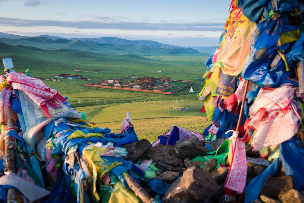 Amarbayasgalant Monastery seen from a mound of prayer flags, Orkhon Province, Mongolia. Photo © Robert van Sluis - www.robertvansluis.com