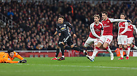 Football - 2017 / 2018 Premier League - Arsenal vs. Manchester United<br /> <br /> Jesse Lingard (Manchester United) scores his teams second goal past the despairing dive of Petr Cech (Arsenal FC)  at The Emirates.<br /> <br /> COLORSPORT/DANIEL BEARHAM