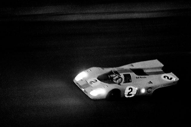 Porsche 917K at 1970 Daytona 24 Hours race, after sundown