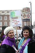 Protesters against the planned HS2 project takes place 12.01.18 in Euston, London, United Kingdom. Local residents Coral Bower and Mimi Romilly. HS2 will take over the land by Euston Monday Jan 15 and all the trees will have to go. Local resident Jo Hurford and vicar Anne Stevens locked themselves to a tree in protest.