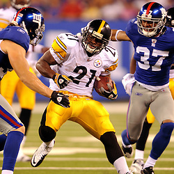 21 Aug, 2010: Pittsburgh Steelers cornerback Joe Burnett (27) returns an interception during first half NFL preseason action between the New York Giants and Pittsburgh Steelers at New Meadowlands Stadium in East Rutherford, New Jersey.