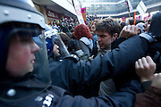 Mcc0027103 . Daily Telegraph..Students protesting in Westminster today against Tuition  Fee rises clash with Police at the Conservative Party headquarters..London 10 November 2010.....