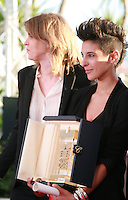 Claire Burger and Marie Amachoukeli and Samuel Theis winner of Caméra d'or for the film Party Girl at the Palme d'Or winners photo call at the 67th Cannes Film Festival, Saturday 24th May 2014, Cannes, France.