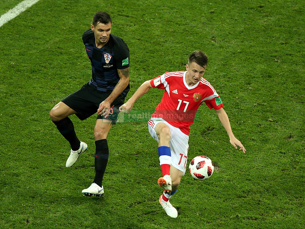 July 7, 2018 - Sochi, Russia - July 07, 2018, Sochi, FIFA World Cup 2018, the playoff round. 1/4 finals of the World Cup. Football match Russia - Croatia at the stadium Fisht. Player of the national team Alexander Golovin  (Credit Image: © Russian Look via ZUMA Wire)