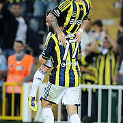 Fenerbahce's Mirosloav STOCH (B) celebrate his goal with team mate during their Turkish superleague soccer match Fenerbahce between Istanbul BB at the Sukru Saracaoglu stadium in Istanbul Turkey on Saturday 01 October 2011. Photo by TURKPIX