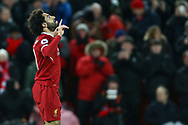 Mohamed Salah of Liverpool celebrates after scoring his teams 1st goal. Mohamed Salah of Liverpool celebrates after scoring his teams 1st goal. Premier League match, Liverpool v Chelsea at the Anfield stadium in Liverpool, Merseyside on Saturday 25th November 2017.<br /> pic by Chris Stading, Andrew Orchard sports photography.