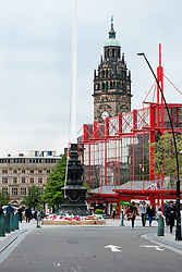 Sheffield War Memorial sited in Barker's Pool, outside the Sheffield City Hall. Barker's Pool is a Grade II listed 90-foot-tall (27 m) First World War memorial that was unveiled on 28 October 1925<br /> <br /> 5 June 2013