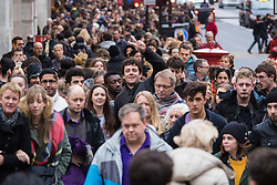 London, December 12th 2015. Tens of thousands of shoppers descend on London's west end as retailers keep prices low to encourage volume sales in the run-up to Christmas. PICTURED: Regent Street. ///FOR LICENCING CONTACT: paul@pauldaveycreative.co.uk TEL:+44 (0) 7966 016 296 or +44 (0) 20 8969 6875. ©2015 Paul R Davey. All rights reserved.