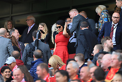 21st May 2017 - Premier League - Liverpool v Middlesbrough - Linda Pizzuti, wife of Liverpool owner John W. Henry, arrives wearing a red dress - Photo: Simon Stacpoole / Offside.