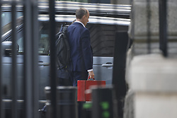 © Licensed to London News Pictures. 06/09/2021. London, UK. Foreign Secretary Dominic Raab arrives at the back of Downing Street. Prime Minister Boris Johnson is facing criticism from all sides of the Conservative Party over plans to raise National Insurance contributions to pay for social care. Photo credit: Peter Macdiarmid/LNP