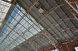 Renovations and Restoration of Coxe Cage, Yale University Athlectics Facility. Project Started May 2013. Construction Progress Photography Submission Ten, 25 September 2013. Project included Skylight replacement, roofing, doors, ventalation systems and track restoration.