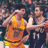 3rd year forward, Zakkery Tamlin (15) of the Regina Cougars during the Men's Basketball Home Game on Fri Nov 02 at Centre for Kinesiology,Health and Sport. Credit: Arthur Ward/Arthur Images