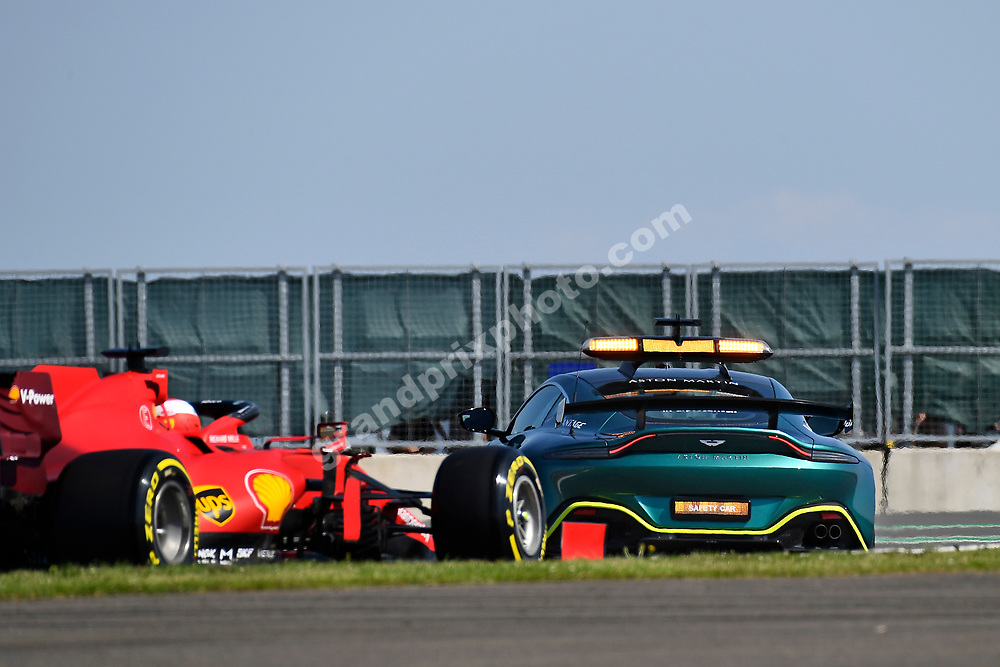 Safety car leads Charles Leclerc (Ferrari) in the 2021 British Grand Prix at Silverstone. Photo: Grand Prix Photo