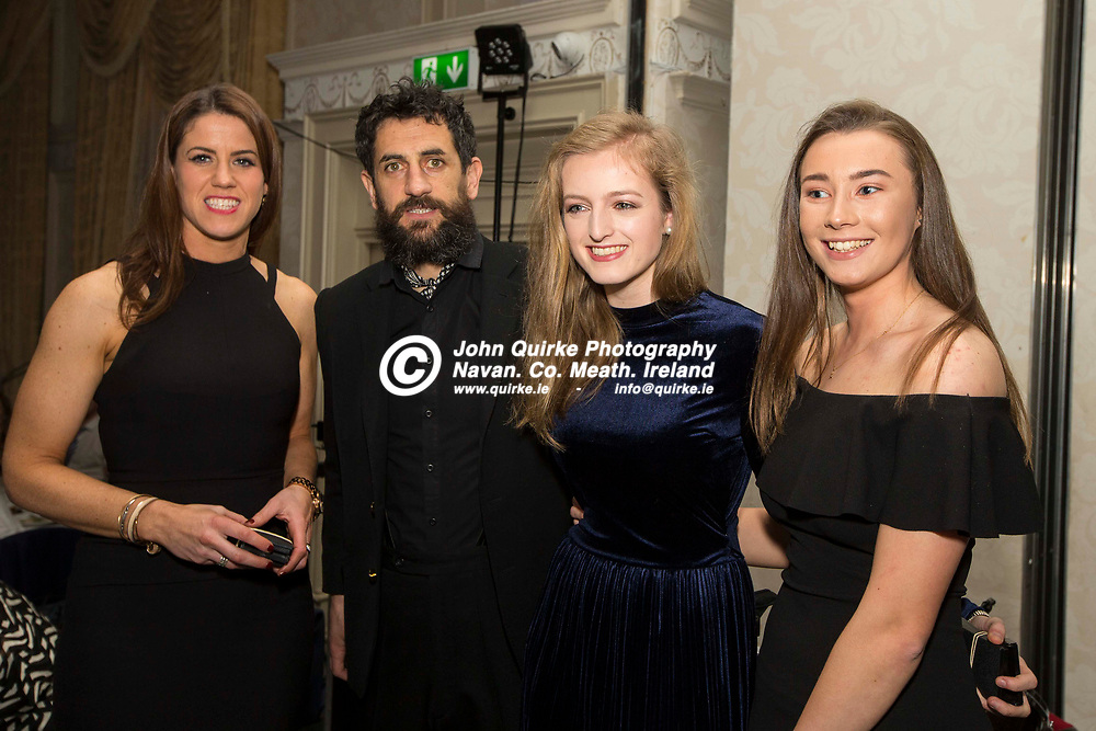 24/02/2018, Navan O`Mahonys annual dinner dance & Presentation night at the Newgrange Hotel, Navan.<br /> Medal presentation to the Ladies.<br /> Pictured with Paul Galvin, L-R, Kathy Butler, Aoife Devlin & Laoise McDermott<br /> Photo: David Mullen / www.quirke.ie ©John Quirke Photography, Unit 17, Blackcastle Shopping Cte. Navan. Co. Meath. 046-9079044 / 087-2579454.<br /> ISO: 400; Shutter: 1/200; Aperture: 6.3; <br /> File Size: 2.6MB<br /> Actuations: