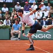 2017 French Open Tennis Tournament - Day Thirteen.  Andy Murray of Great Britain in action against Stan Wawrinka of Switzerland in the Men's Singles Semi Final match on Philippe-Chatrier Court at the 2017 French Open Tennis Tournament at Roland Garros on June 9th, 2017 in Paris, France.  (Photo by Tim Clayton/Corbis via Getty Images)