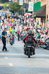 Scott Byrd riding his 1931 Harley-Davidson V arrives at the hosted Dinner stop on Spanish Street in Cape Girardeau, Missouri during Stage 5 of the Motorcycle Cannonball Cross-Country Endurance Run, which on this day ran from Clarksville, TN to Cape Girardeau, MO., USA. Tuesday, September 9, 2014.  Photography ©2014 Michael Lichter.
