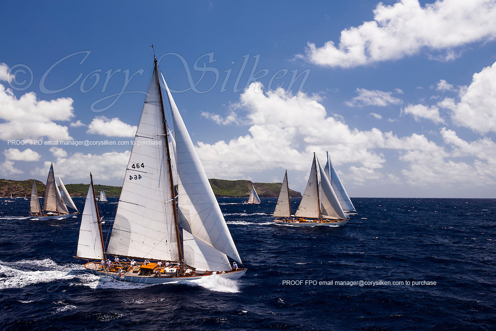 Mariella, Sumurun, Carl Linne sailing in the Antigua Classic Yacht Regatta, Windward Race.