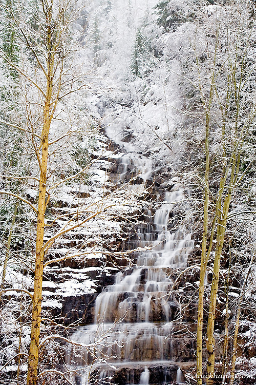 Silver Falls with fresh snow in the Flathead National Forest of Montana