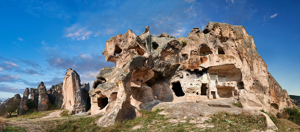 Phrygian and later rock tombs of the necropolis of Midas . From the 8th century BC . Midas City, Yazilikaya, Eskisehir, Turkey.<br /> <br /> The earliest Phrygian settlement here began in the last quarter of the 8th century BC. Even after the Phrygian kingdom collapsed politically, the city was not abandoned and the Phrygian rock structures and tombs were conserved, with some additions and changes made.in the Persian, Hellenistic, Roman and Byzantine periods. .<br /> <br /> If you prefer to buy from our ALAMY PHOTO LIBRARY  Collection visit : https://www.alamy.com/portfolio/paul-williams-funkystock/ancient-midas-turkey.html<br /> <br /> Visit our CLASSICAL WORLD HISTORIC SITES PHOTO COLLECTIONS for more photos to download or buy as wall art prints https://funkystock.photoshelter.com/gallery-collection/Classical-Era-Historic-Sites-Archaeological-Sites-Pictures-Images/C0000g4bSGiDL9rw