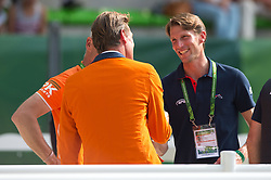 Jeroen Dubbeldam and Kevin Staut - Show Jumping Final Four - Alltech FEI World Equestrian Games™ 2014 - Normandy, France.<br /> © Hippo Foto Team - Jon Stroud<br /> 07/09/2014