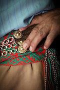 Detail of a Gaucho's ornamental belt, Estancia Huechahue, Patagonia, Argentina, South America