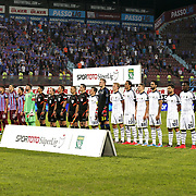 Trabzonspor's and Fenerbahce's players during their Turkish SuperLeague Derby match Trabzonspor between Fenerbahce at the Avni Aker Stadium at Trabzon Turkey on Sunday, 14 September 2014. Photo by Aykut AKICI/TURKPIX