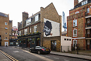 Wall mural on the Duke of Wellington Pub on Toynbee Street during the coronavirus pandemic on the 4th May 2020 in London, United Kingdom.