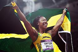 Olympics - London 2012 Olympic Games - Athletics -  4/8/12.Athletics - Womens 100m - Jamaica's Shelly Ann Fraser Pryce celebrates winning the women's 100m.© pixathlon