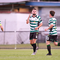BRISBANE, AUSTRALIA - JANUARY 9: Harun Omerovic celebrates scoring a goal during the Kappa Silver Boot Group B match between Brisbane City and Souths United on January 9, 2018 in Brisbane, Australia. (Photo by Patrick Kearney)