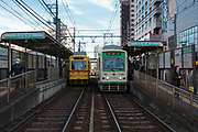 Trams on the Toden Arakawa Line  at Otsuka station in Tokyo, Japan Monday February 16th 2015.
